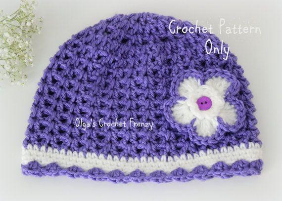 V-Stitch Crochet Girls Hat Pattern, Size 3-5 Years Old, Easy to Make ...