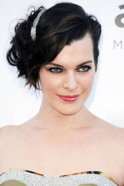 Milla Jovavich  No patience for styling perfectly placed curls? Go for texture and a bejeweled clip instead, as Jovavich did.    Read more: The Best Wedding Hairstyles 2013 - Wedding Updos - ELLE   Follow us: @ElleMagazine on Twitter | ellemagazine on Facebook