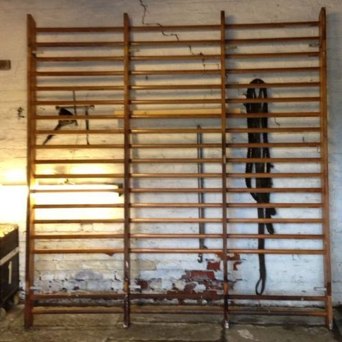 Vintage wooden gymnasium climbing wall bars from waterloo road