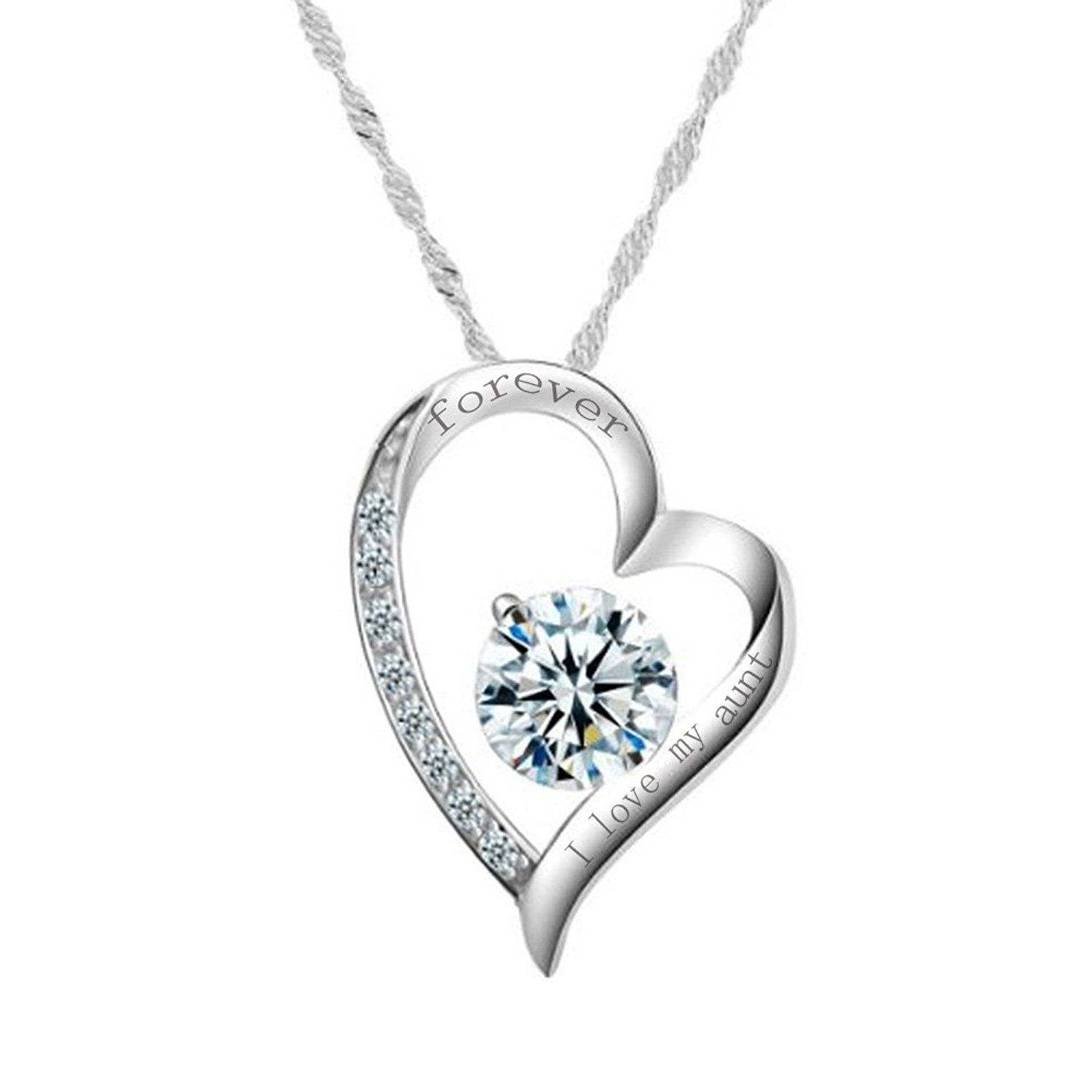 Sterling Silver Heart 'I Love My Aunt Forever' Necklace Cubic Zirconia Engraved Pendant for Women * Check out this great product. (This is an affiliate link and I receive a commission for the sales)