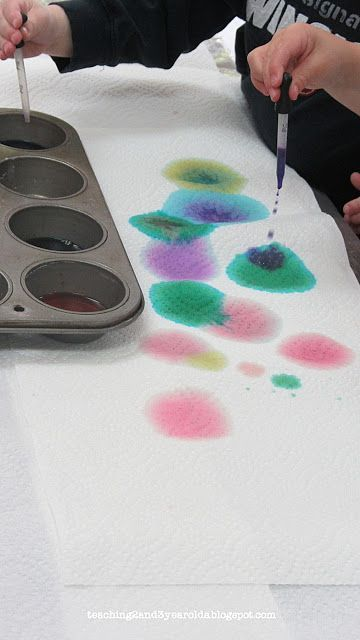 Drop Diluted Food Coloring Onto Paper Towels For Experimenting And