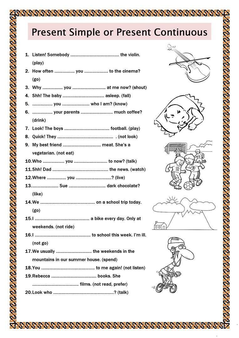 Present Simple Or Present Continuous Worksheet Free Esl Printable