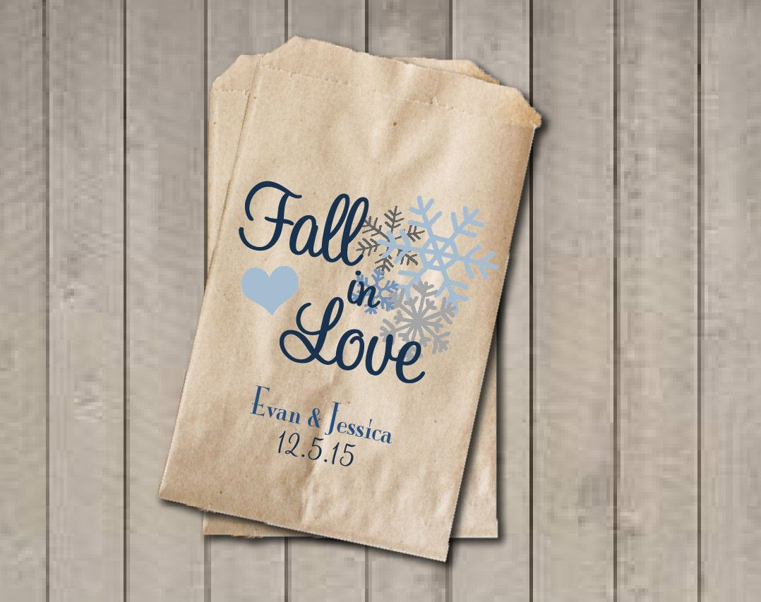 Wedding Favor Bags Fall In Love Personalized Candy Winter Buffet Blue Snowflakes