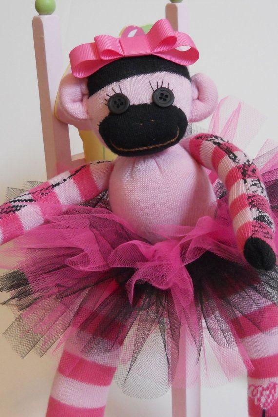 Sock monkey, sock monkey doll, monkey, tutu. pink, black