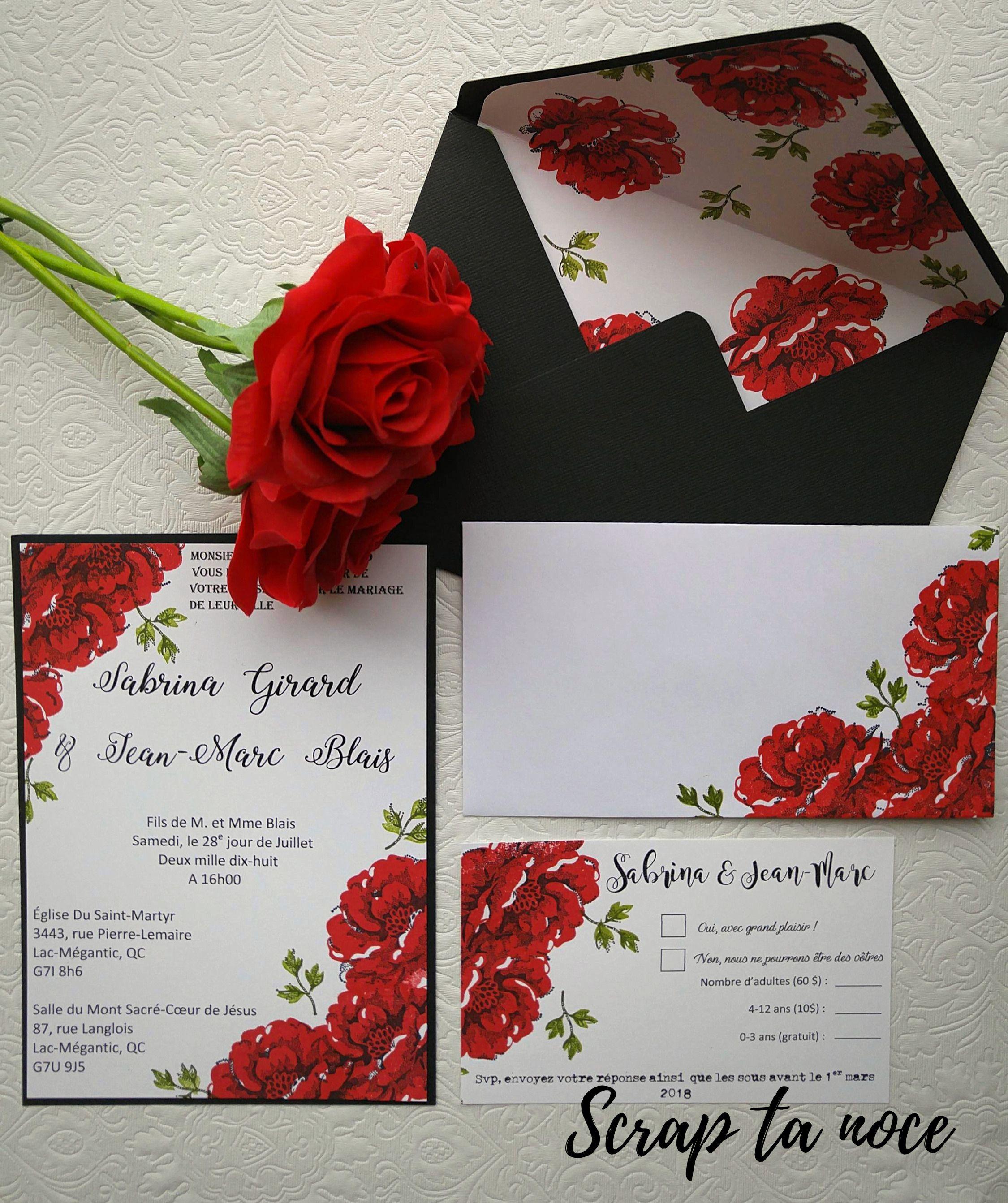 Wedding Roses Invitations Faire Part De Mariage Avec Roses Rouges Wedding Etsy