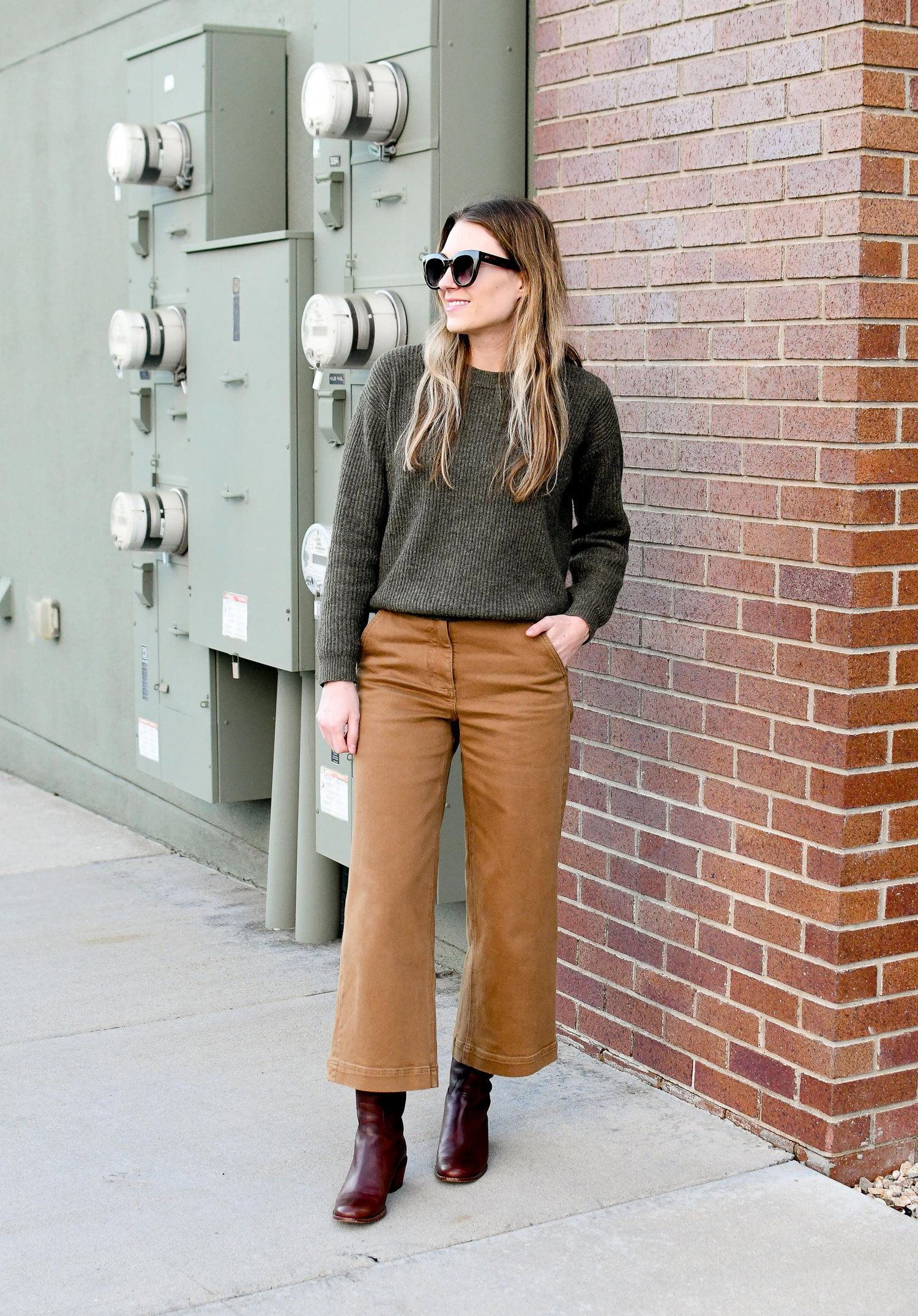 Earthy Wide leg cropped pants, Pants outfit fall