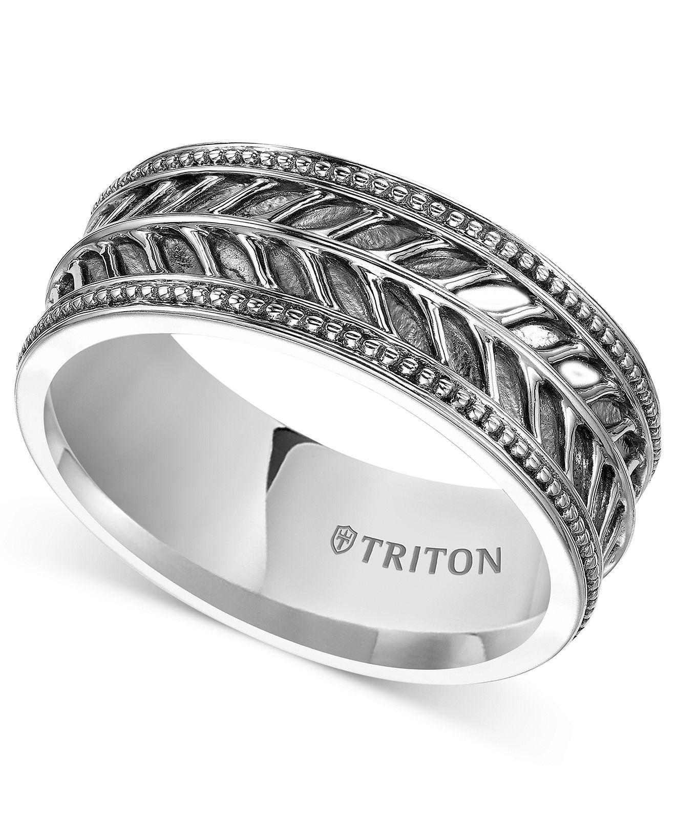 Triton Mens Sterling Silver Ring 10mm Leaf Pattern Wedding Band