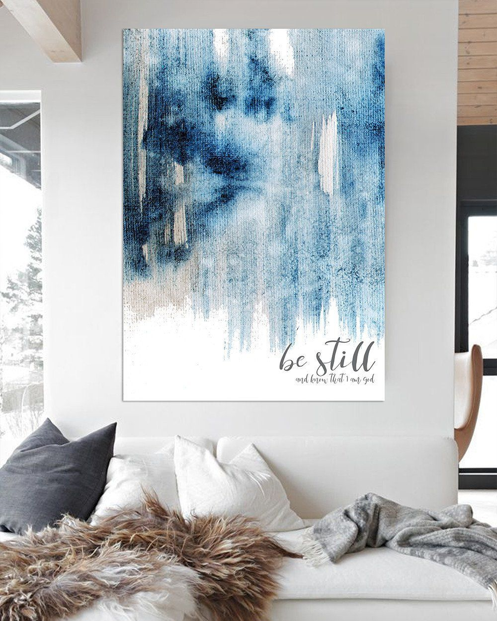 Be Still and Know Modern Farmhouse Art - Blue Contemporary Wall Art ...