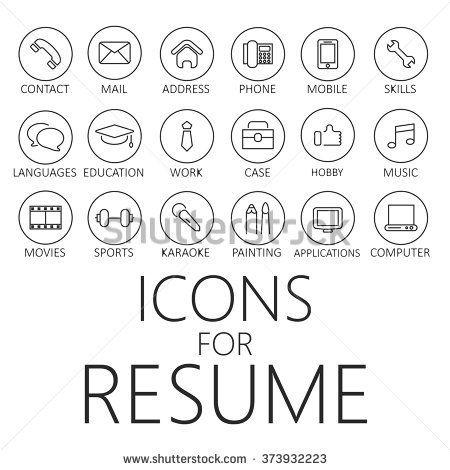 thin line icons pack for CV, resume, job | CV | Pinterest