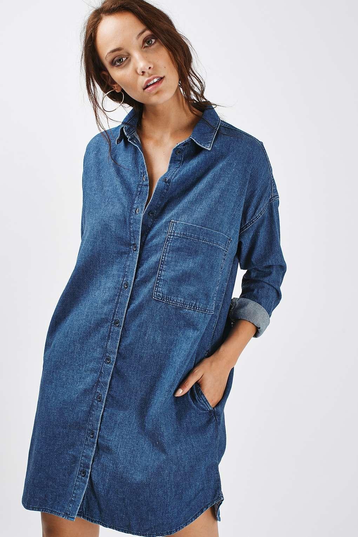 MOTO Denim Clean Shirt Dress   Long sleeve denim dress, Shirt ...