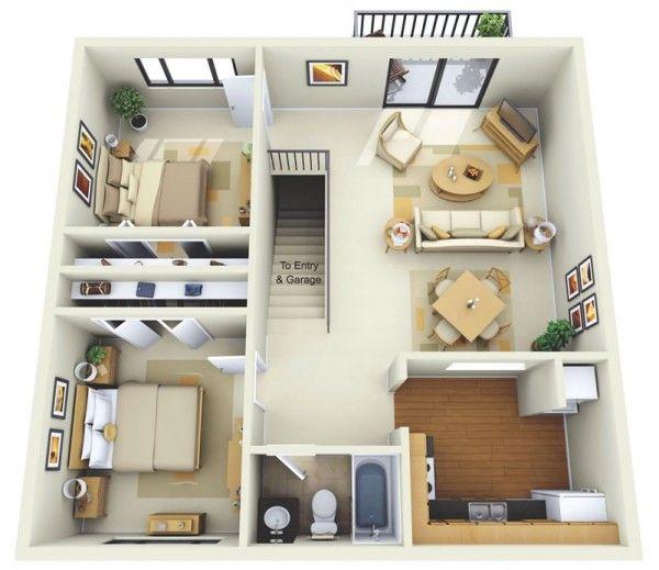 2 Bedroom Apartment House Plans Two Bedroom Floor Plan