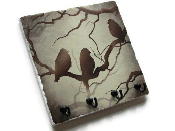 Bird Art Wall Decor Key Rack Natural Brown Decorative Tile Hook Hanger Jewelry Organization Holder