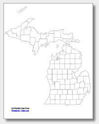 Printable Michigan County Map Unlabeled State Maps For Reunion