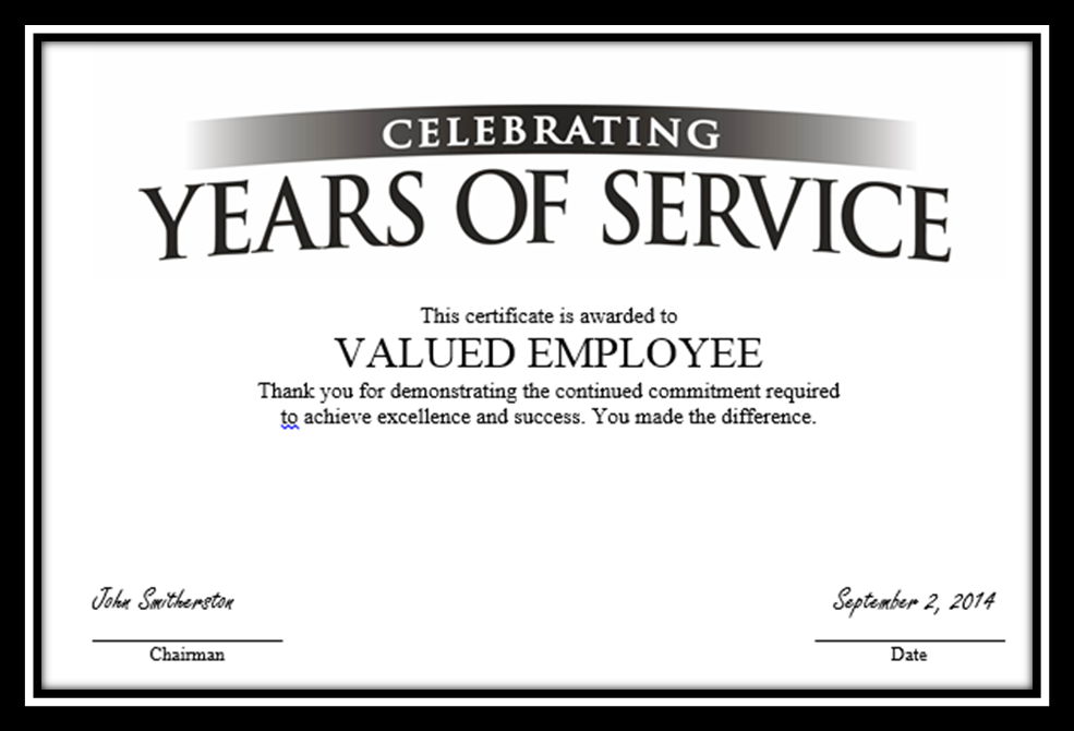 work anniversary certificates