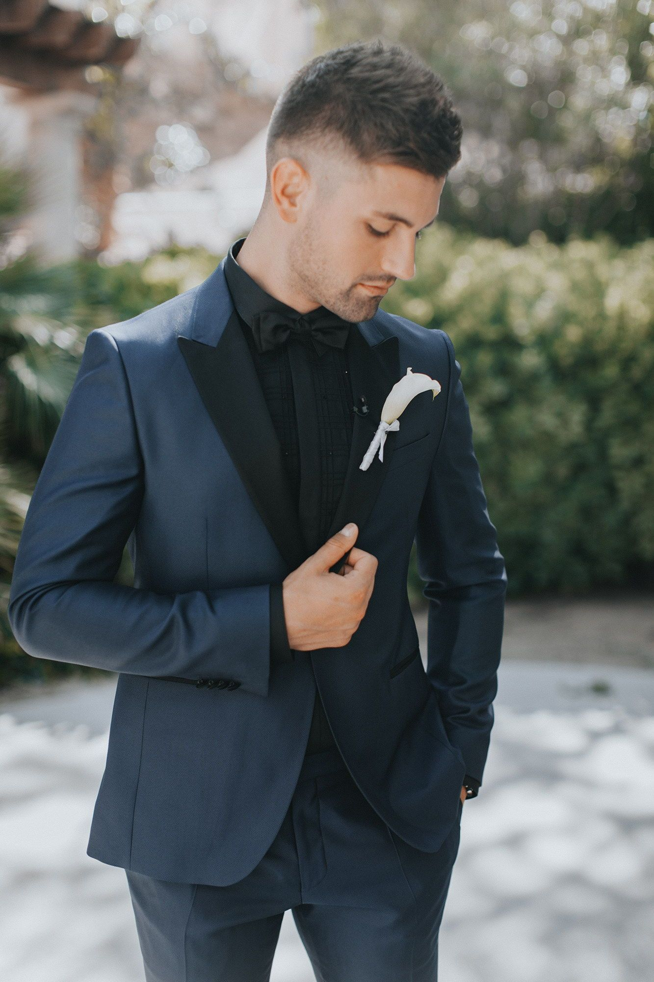 b4e645c408a2 Groom wearing a Hugo Boss dark blue suit at the Reflection Bay Golf Club in  Las Vegas. | Jhonathan and Michael's Black Tie Las Vegas Wedding ...