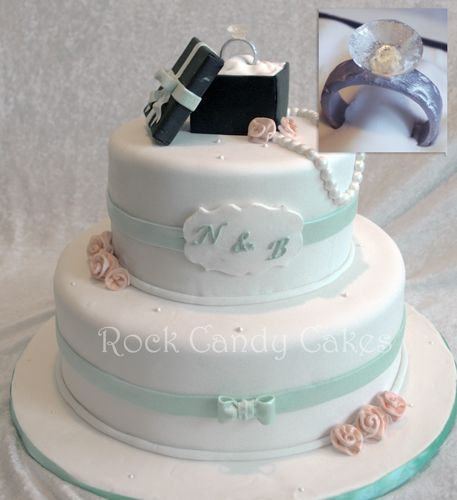 Rock Candy Cakes Livermore: Engagement Cake with Sugar Diamond Ring