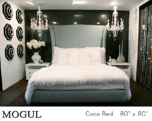 bedrooms - upholstered bed chandelier black and white drama queen ...