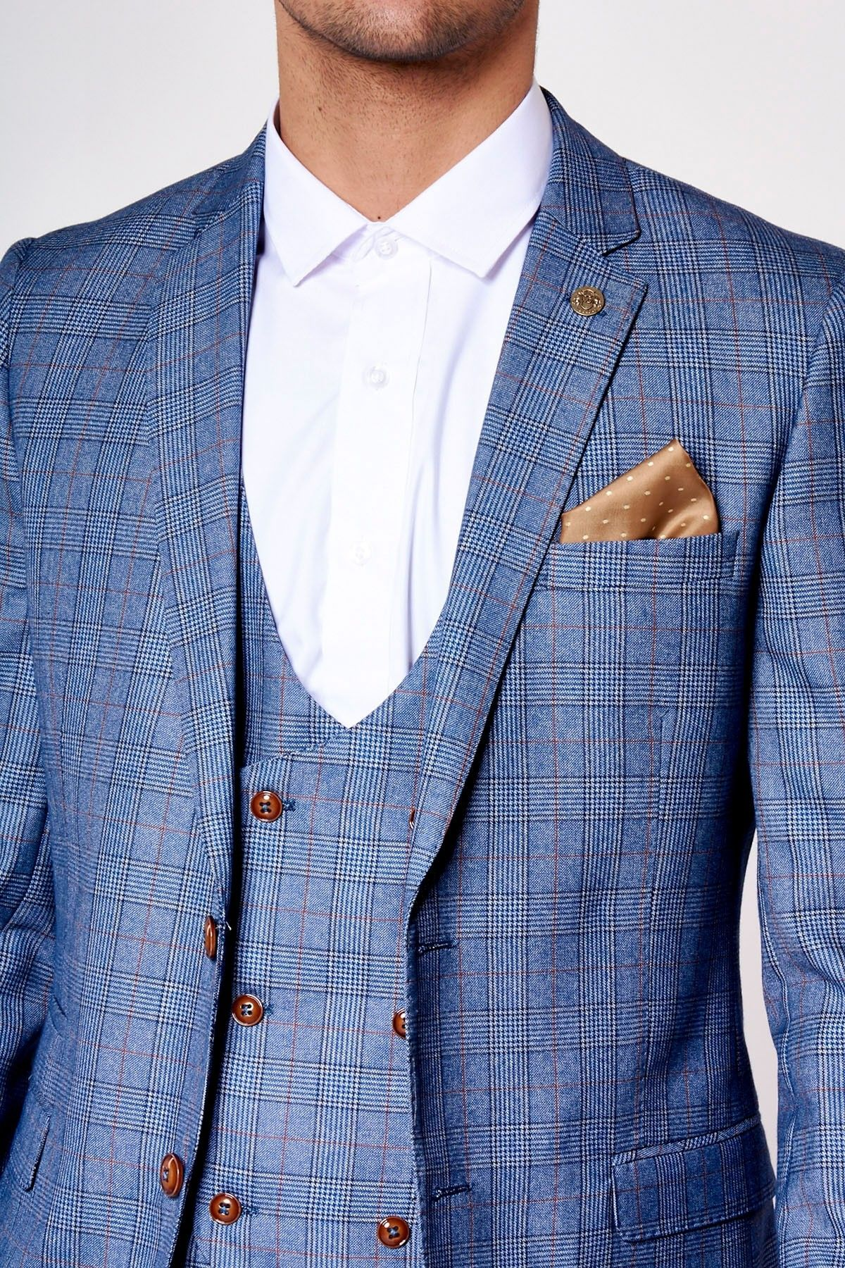 37bb8acd5c19 Light Blue Heritage Three Piece Suit with Checked Detail & Contrast Brown  Buttons - Marc Darcy