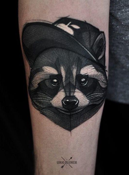 Lukas Zglenicki raccoon tattoo