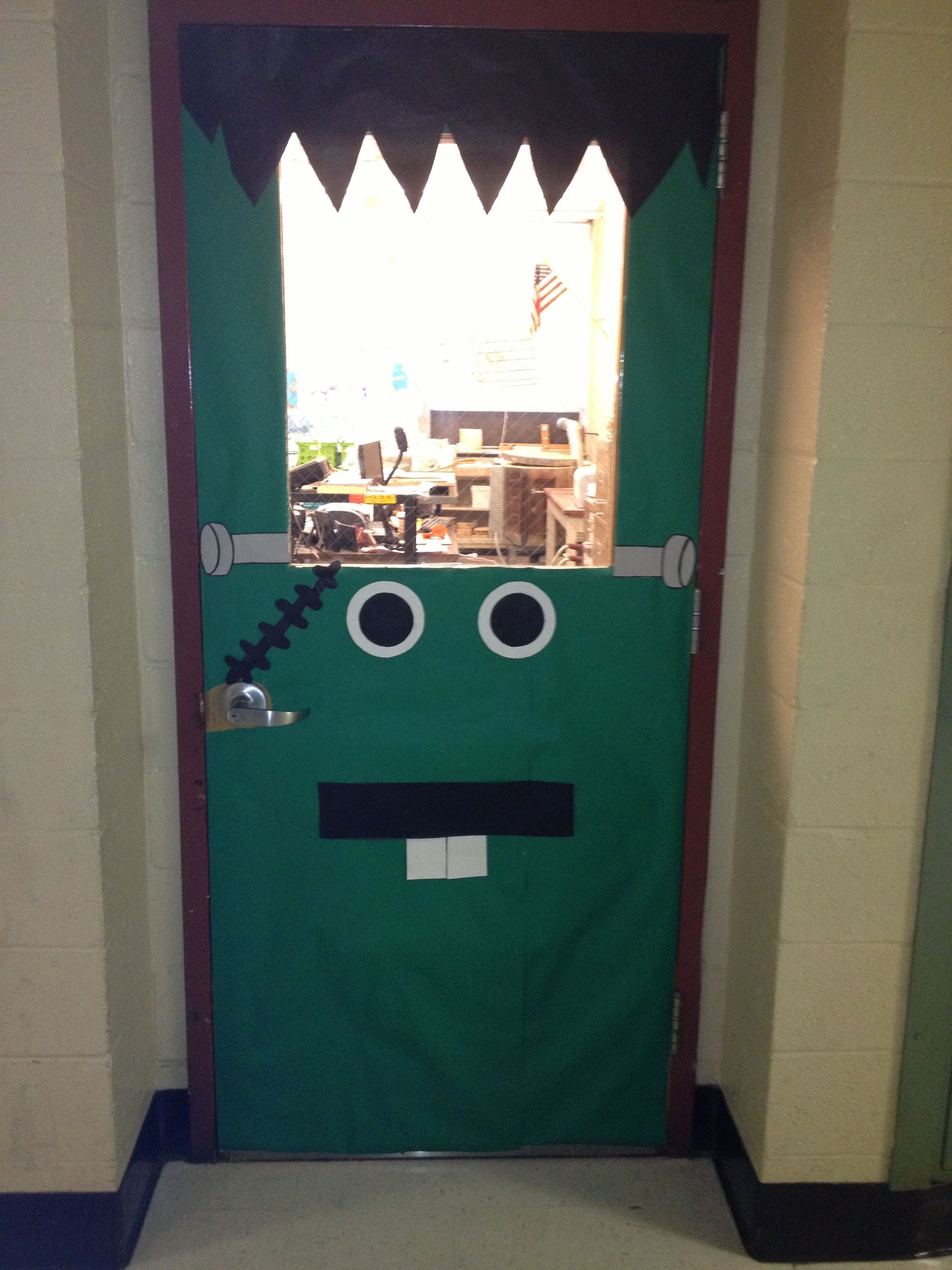 Halloween classroom decorations - My Halloween Door Decoration For My Classroom Frankenstein