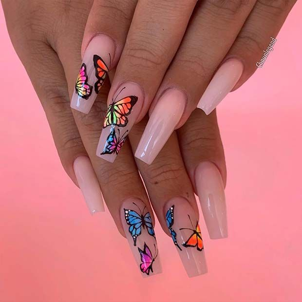 23 Ways to Wear Trendy Butterfly Nails This Summer - Hania Style