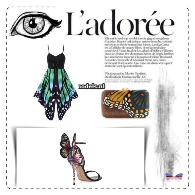 """""""Butterflies are Free  J'adore  Le Libre"""" by scoutmass ❤ liked on Polyvore featuring Sophia Webster, Silvia Furmanovich and Matthew Williamson"""
