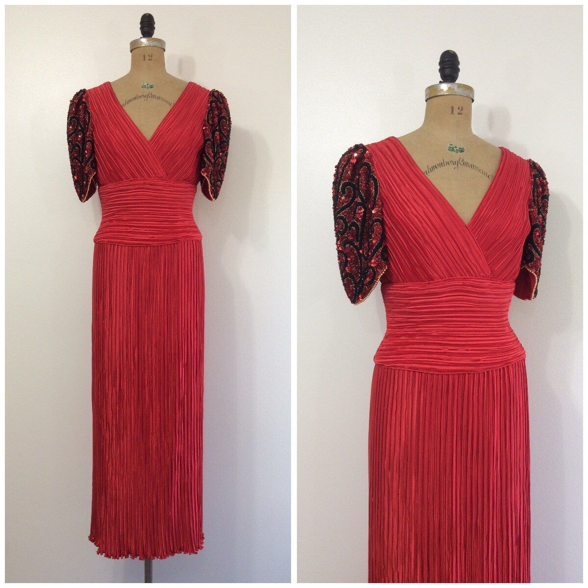A personal favorite from my Etsy shop https://www.etsy.com/listing/488710719/1980s-george-f-couture-red-fortuny-gown