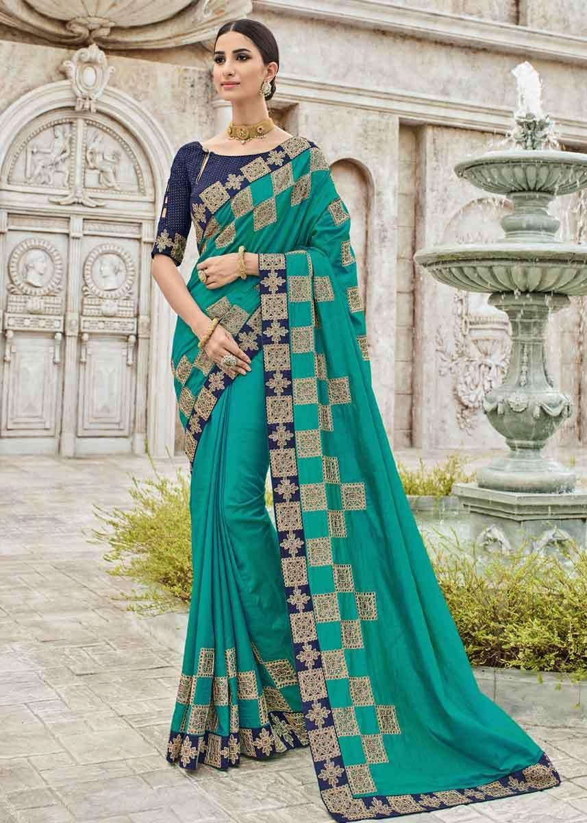 21d8e5090 Green Color Two Tone Sana Silk Checks Design Lace Border Saree in ...