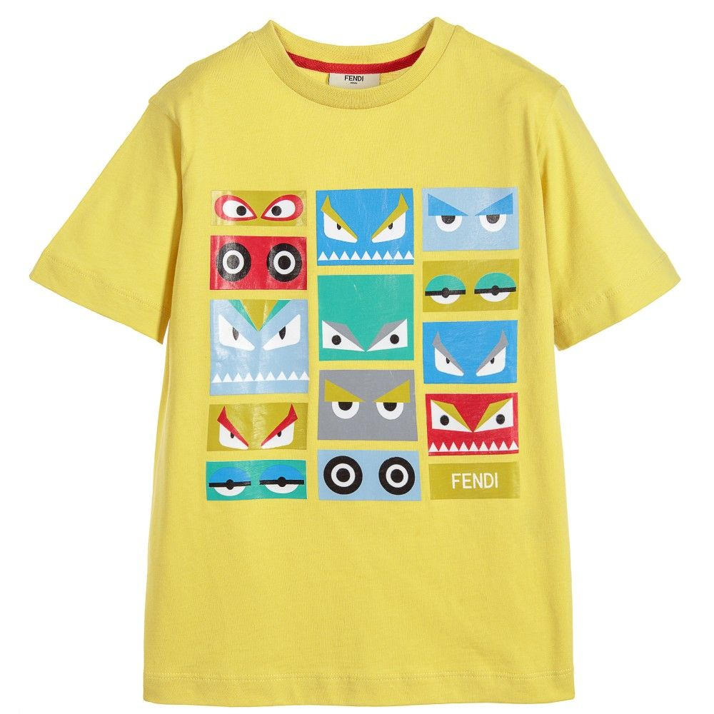 31d8c69713b90 Fendi - Boys Yellow Cotton  Monster Eyes  Print T-Shirt ...