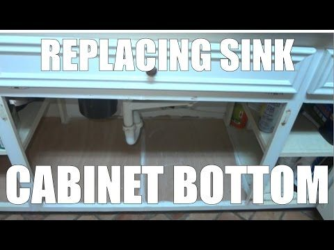 Replacing a sink base cabinet bottom floor after water leak damage - YouTube & Replacing a sink base cabinet bottom floor after water leak damage ...