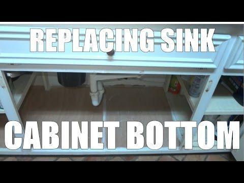 Replacing A Sink Base Cabinet Bottom Floor After Water Leak Damage Youtube Under Kitchen Sinks Kitchen Sink Diy Kitchen Cabinets Repair