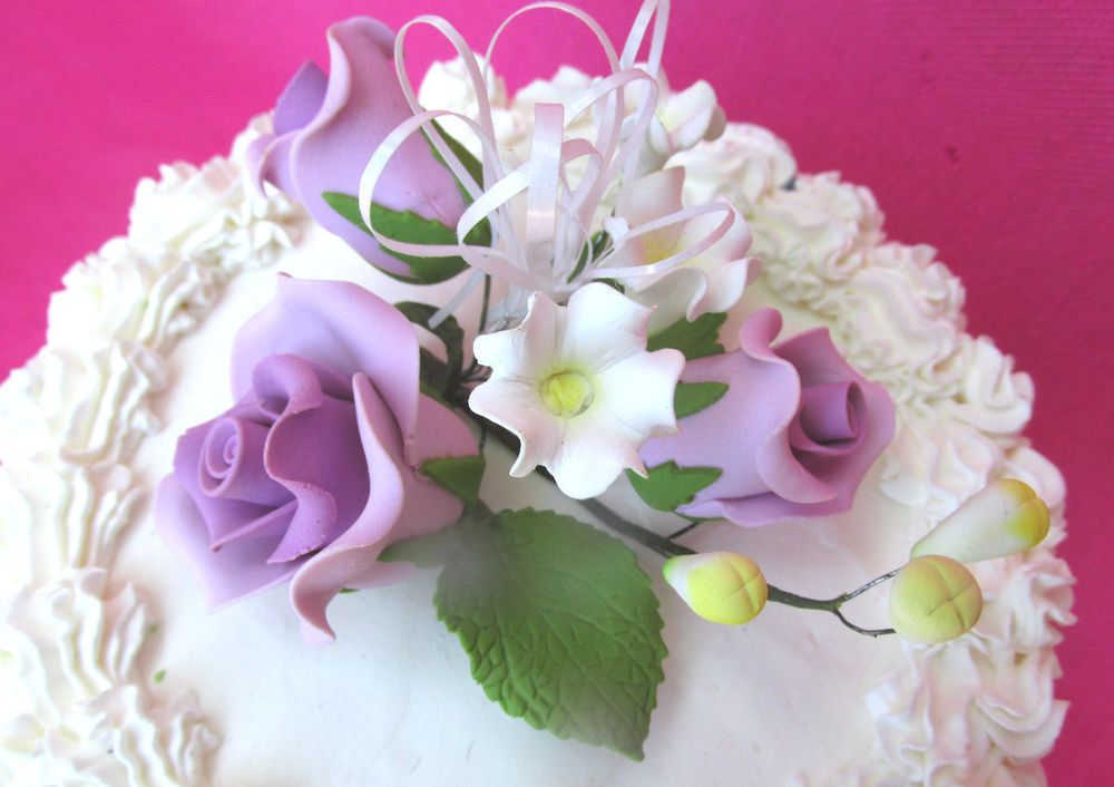 Gum Paste Lavender/Violet Roses Stephanotis Sugar Flower Cake Decorating Spray  #ProfessionallyHandMadeGumpasteFlowers