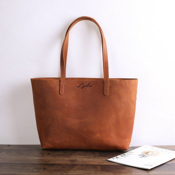 ad67406e9b04 Personalized Large Leather Tote Travel Bag Shopper Bag Brown Leather Bag  Large Shopper Bag Leather G