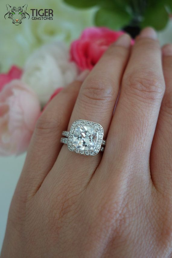 2.25 ctw Cushion Cut Halo Wedding Set, Half Eternity Bridal Rings, Man Made  Diamond Simulants, Engagement Ring, Wedding, Sterling Silver