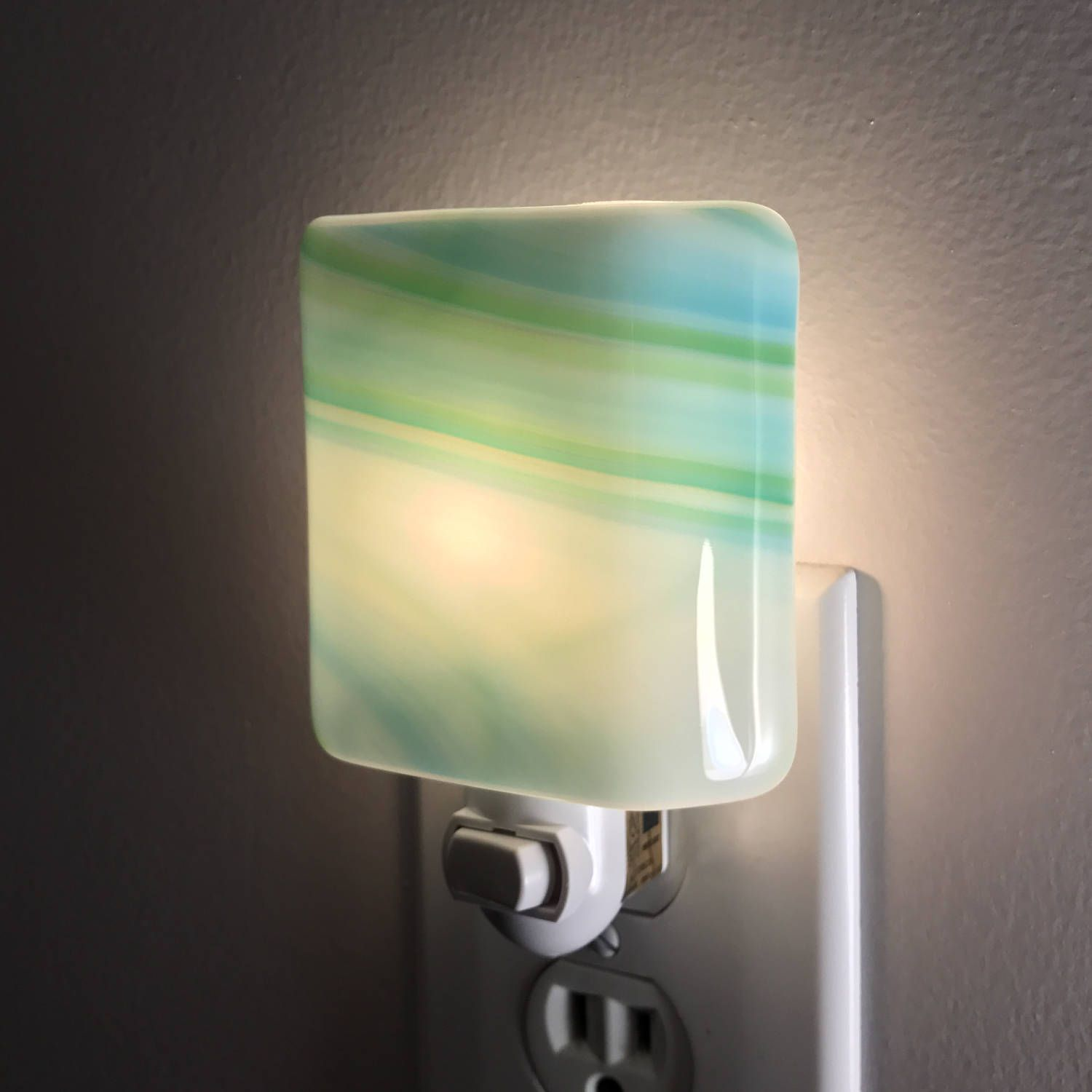 Bathroom Night Light glass night light - blue green and white streaky fused glass