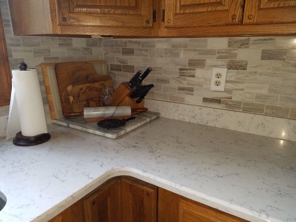 Oak Cabinets With Lyra Quartz And Marble Backsplash Replacing