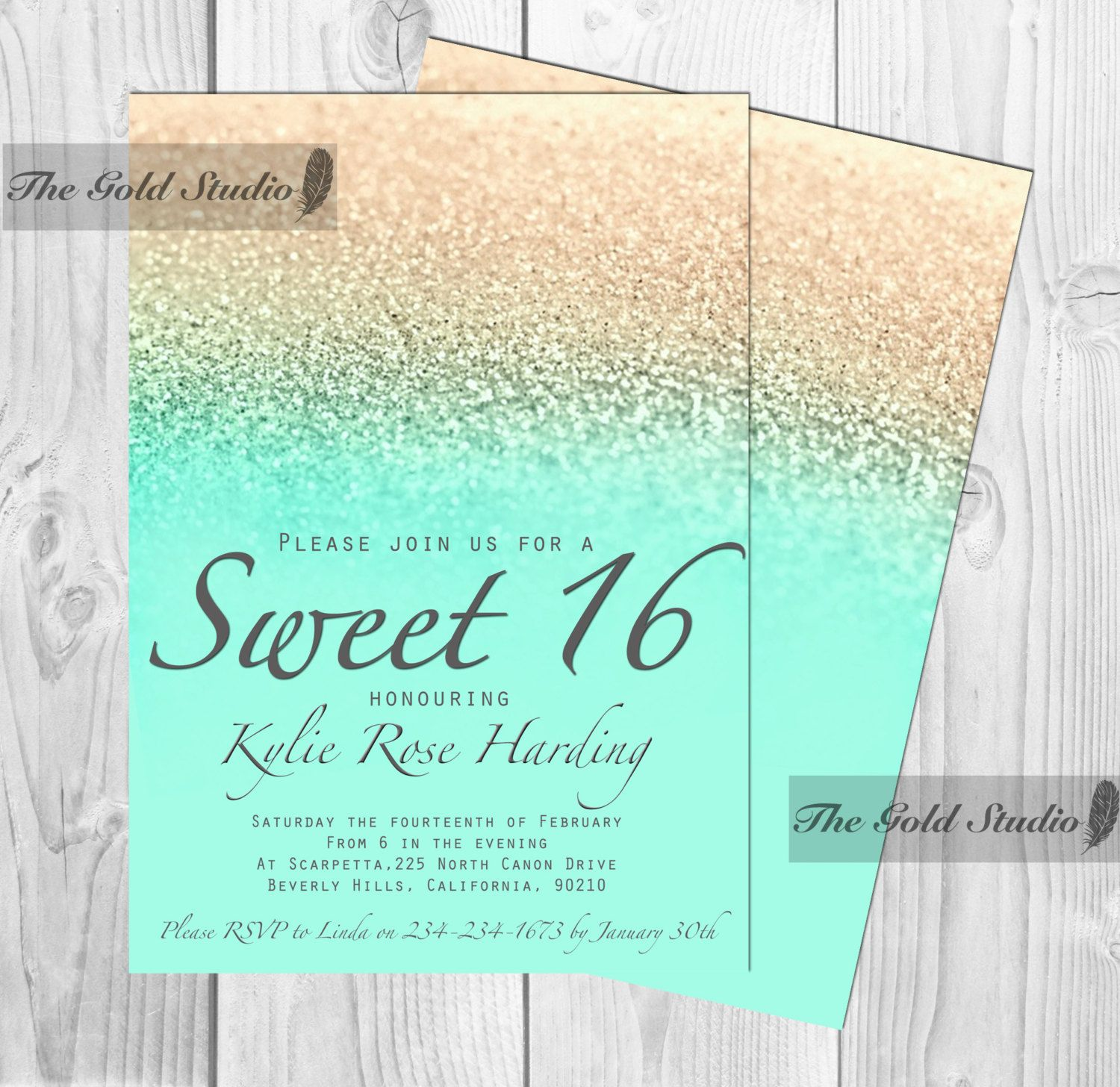 Customizable Sweet sixteen 16 mint and gold glitter ombre – Printable Sweet 16 Birthday Invitations