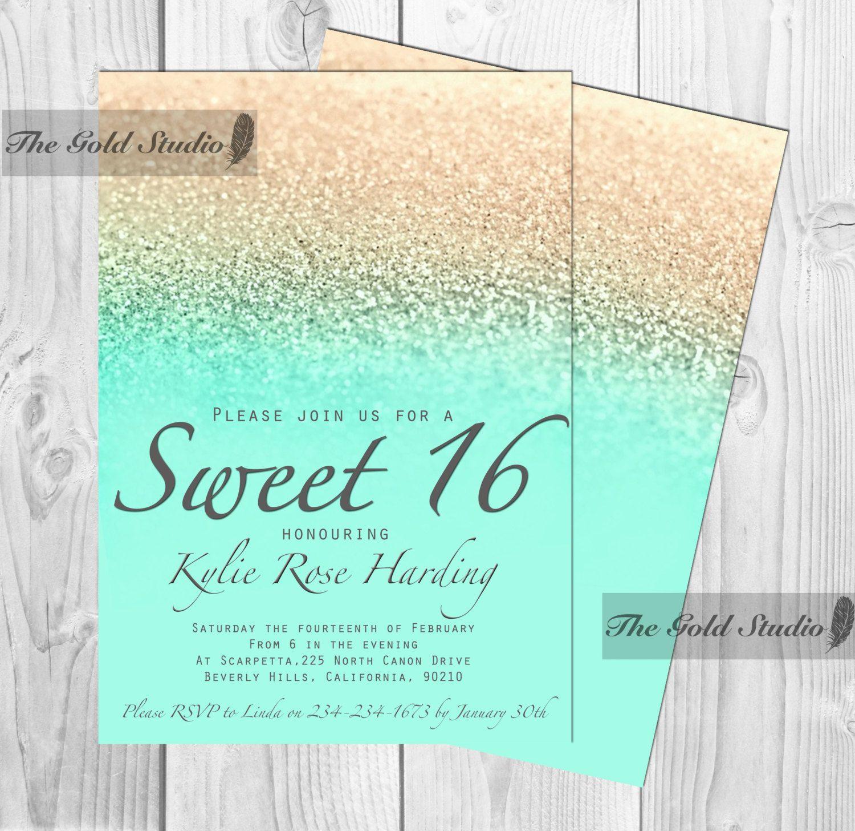 Modern Sweet 16 Invitations