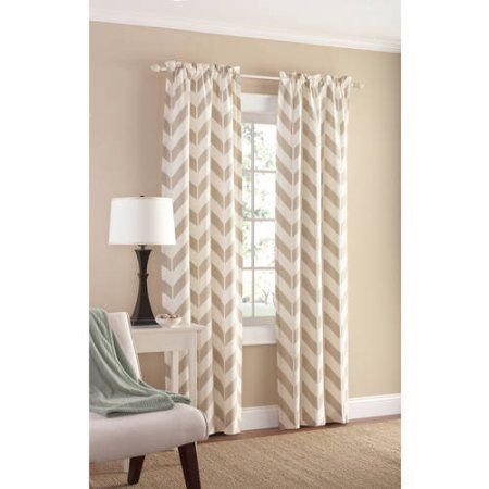 Room · Mainstays Chevron Polyester/Cotton Curtain ...
