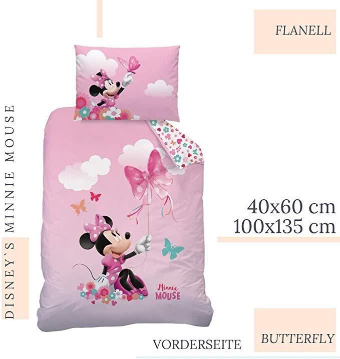 100 x 135 cm Disneys Minnie Mouse Bettw/äsche 100/% Baumwolle mit Rei/ßverschluss
