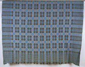 Double-weave tapestry blanket in blue and black design, late 19th century-early 20th century [image 1 of 3]