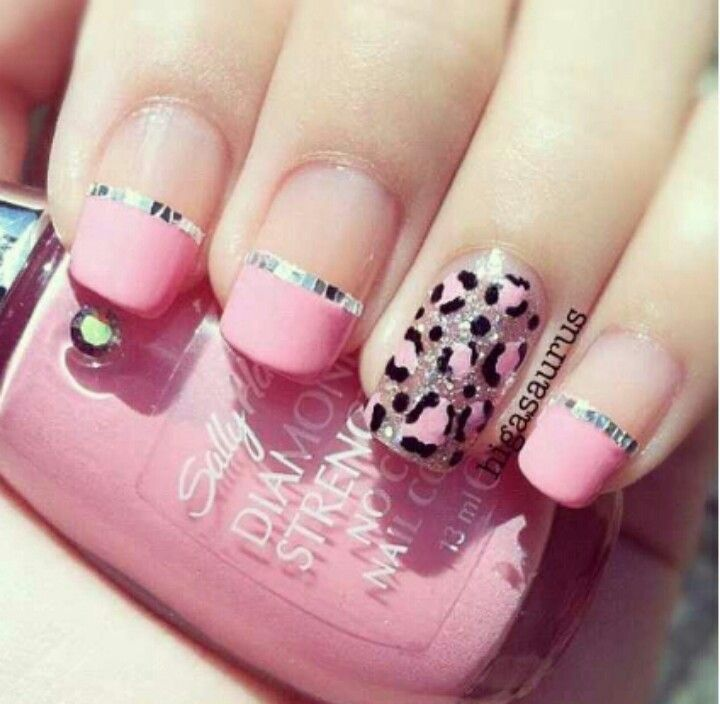 Leopard print and pink nail art | Nails fever♡♥ | Pink