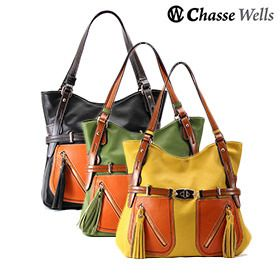 Chasse Wells S'egayer PU. Leather Shoulder Tote - Assorted Colors