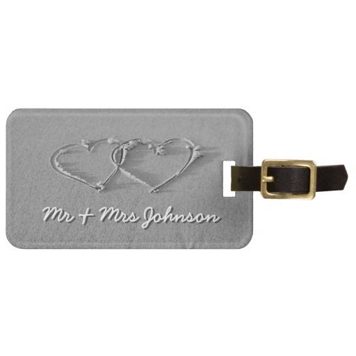 Hearts in beach sand luggage tag for newly weds