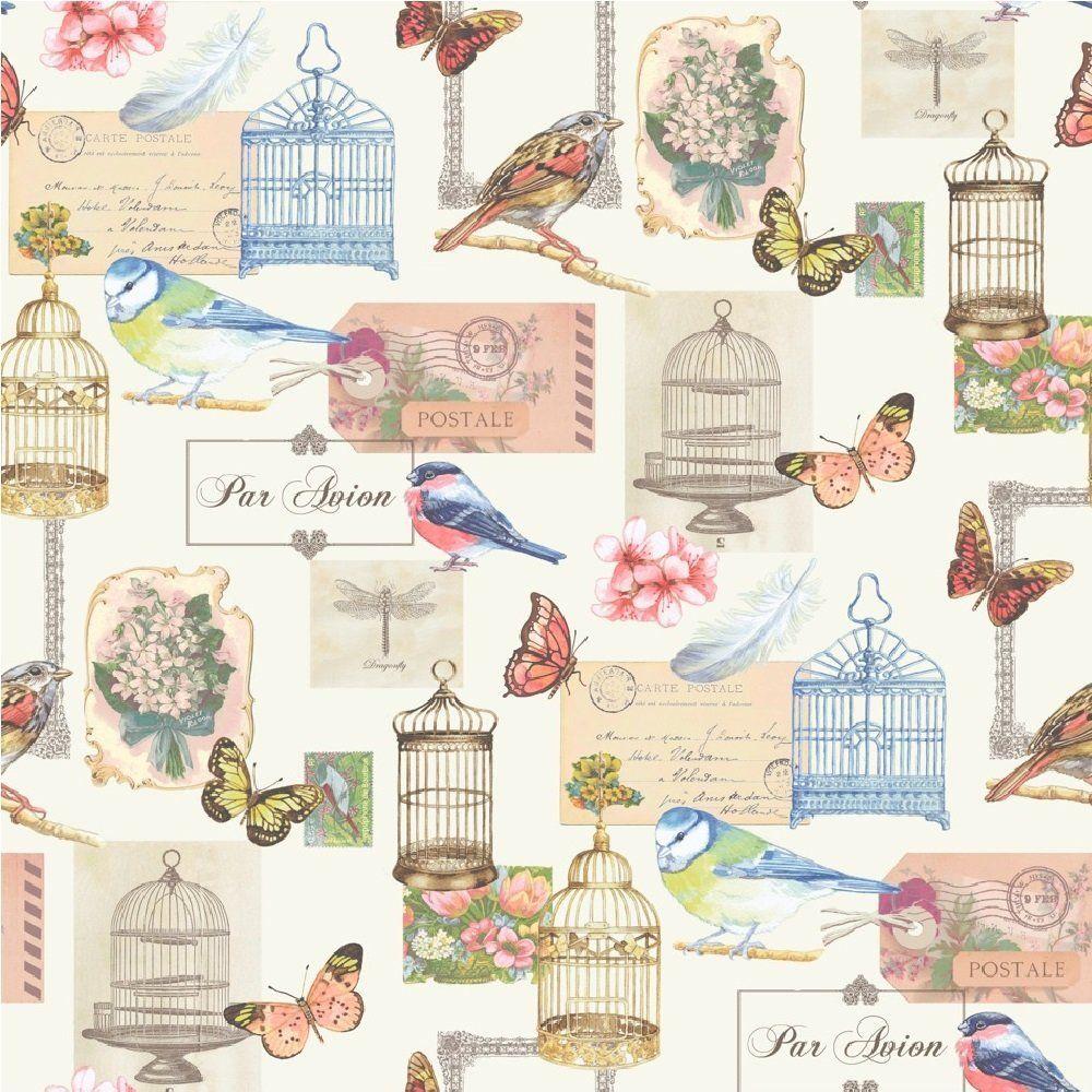 Muriva Bird Cage Wallpaper White Multi Coloured Muriva From I