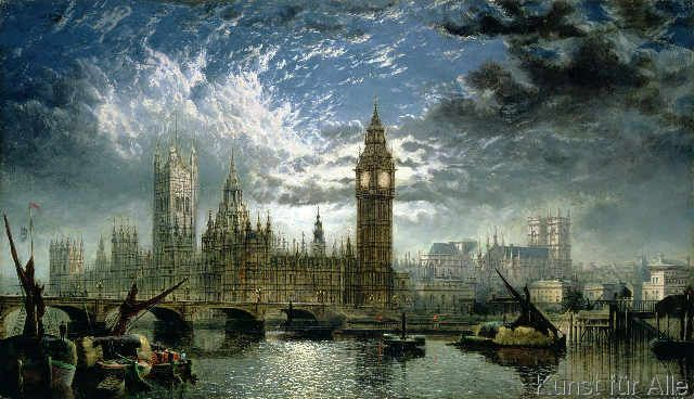 John MacVicar Anderson - A View of Westminster Abbey and the Houses of Parliament, 1870