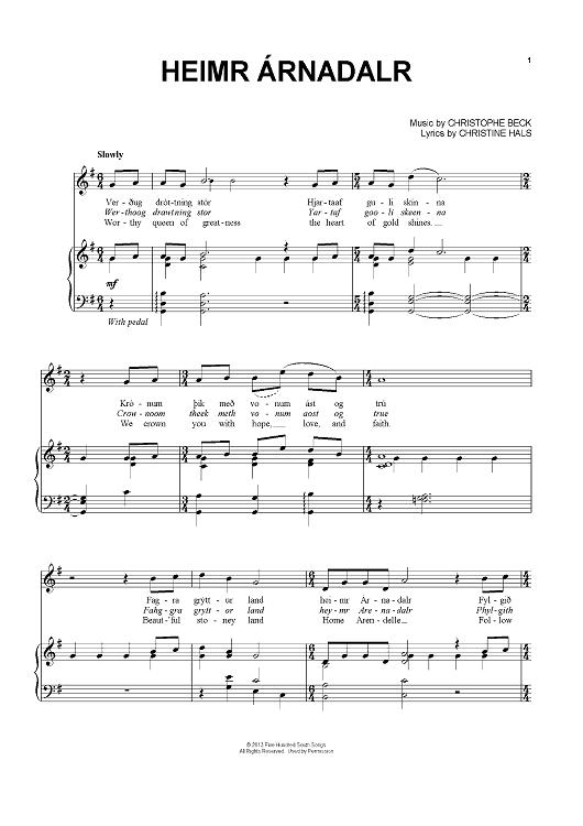Heimr Rnadalr Sheet Music By Christophe Beck Partituras