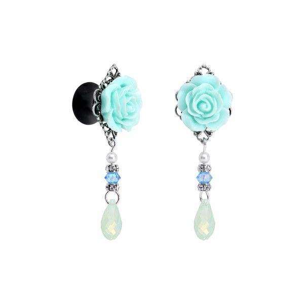 """5/8"""" Acrylic Aqua Rose Plug Set Created with Swarovski Crystals ❤ liked on Polyvore featuring home, home decor, rose home decor, aqua home decor and aqua home accessories"""