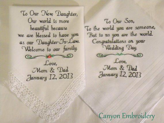 Embroidered Wedding Handkerchiefs Wedding Gift Daughter and Son ...