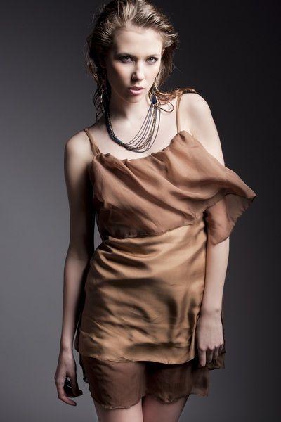 Abendkleider - Silk golden brown dress - ein Designerstück von ...
